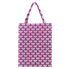 Scales3 White Marble & Pink Leather (r) Classic Tote Bag