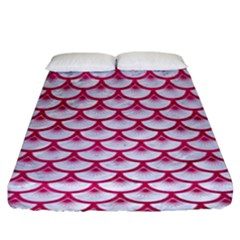 Scales3 White Marble & Pink Leather (r) Fitted Sheet (king Size) by trendistuff