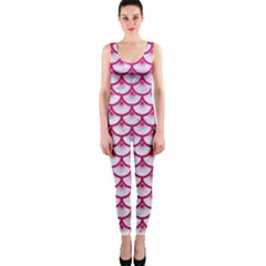 Scales3 White Marble & Pink Leather (r) One Piece Catsuit