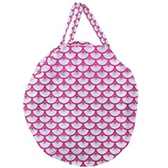 Scales3 White Marble & Pink Leather (r) Giant Round Zipper Tote