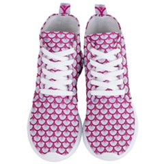 Scales3 White Marble & Pink Leather (r) Women s Lightweight High Top Sneakers
