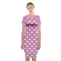 Scales2 White Marble & Pink Leather (r) Classic Short Sleeve Midi Dress