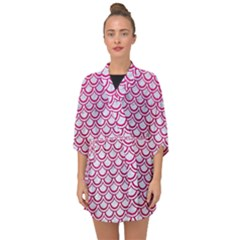 Scales2 White Marble & Pink Leather (r) Half Sleeve Chiffon Kimono