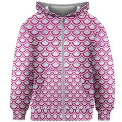 Scales2 White Marble & Pink Leather (r) Kids Zipper Hoodie Without Drawstring