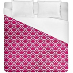 Scales2 White Marble & Pink Leather Duvet Cover (king Size)