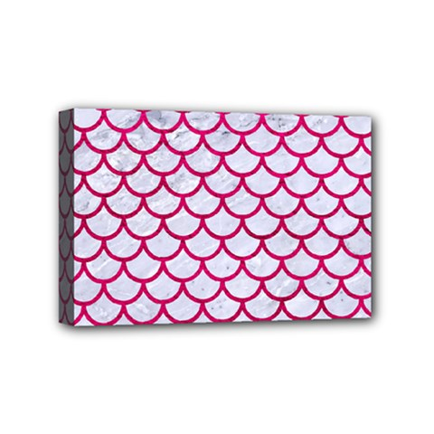 Scales1 White Marble & Pink Leather (r) Mini Canvas 6  X 4