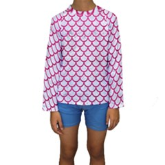Scales1 White Marble & Pink Leather (r) Kids  Long Sleeve Swimwear