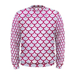 Scales1 White Marble & Pink Leather (r) Men s Sweatshirt