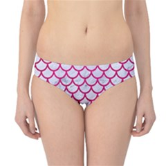 Scales1 White Marble & Pink Leather (r) Hipster Bikini Bottoms