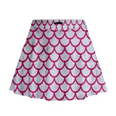 Scales1 White Marble & Pink Leather (r) Mini Flare Skirt