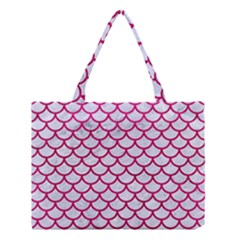 Scales1 White Marble & Pink Leather (r) Medium Tote Bag