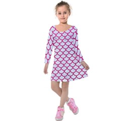 Scales1 White Marble & Pink Leather (r) Kids  Long Sleeve Velvet Dress