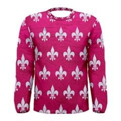 Royal1 White Marble & Pink Leather (r) Men s Long Sleeve Tee