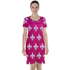 Royal1 White Marble & Pink Leather (r) Short Sleeve Nightdress