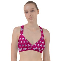 Royal1 White Marble & Pink Leather (r) Sweetheart Sports Bra