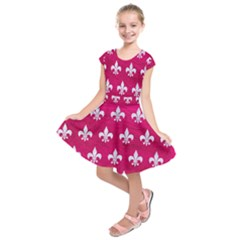 Royal1 White Marble & Pink Leather (r) Kids  Short Sleeve Dress