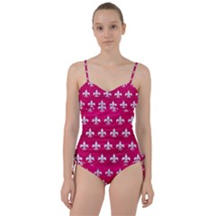 Royal1 White Marble & Pink Leather (r) Sweetheart Tankini Set