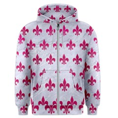 Royal1 White Marble & Pink Leather Men s Zipper Hoodie