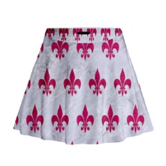 Royal1 White Marble & Pink Leather Mini Flare Skirt