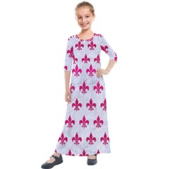 Royal1 White Marble & Pink Leather Kids  Quarter Sleeve Maxi Dress
