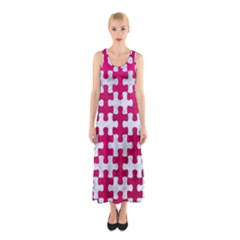 Puzzle1 White Marble & Pink Leather Sleeveless Maxi Dress
