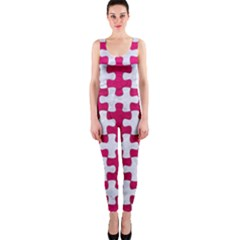 Puzzle1 White Marble & Pink Leather One Piece Catsuit
