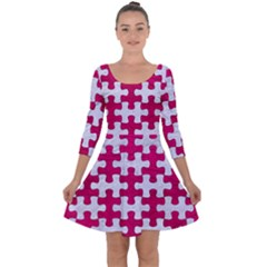 Puzzle1 White Marble & Pink Leather Quarter Sleeve Skater Dress