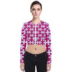 Puzzle1 White Marble & Pink Leather Bomber Jacket