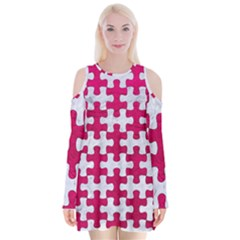Puzzle1 White Marble & Pink Leather Velvet Long Sleeve Shoulder Cutout Dress