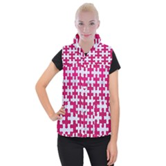 Puzzle1 White Marble & Pink Leather Women s Button Up Vest