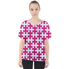 Puzzle1 White Marble & Pink Leather V Neck Dolman Drape Top