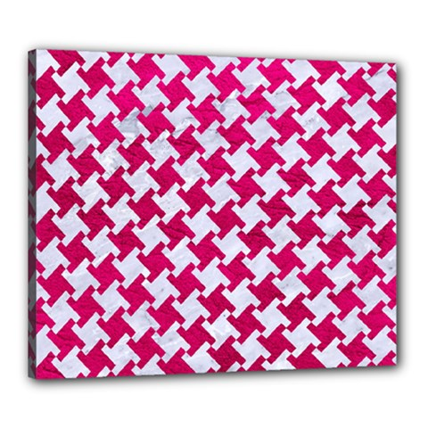 Houndstooth2 White Marble & Pink Leather Canvas 24  X 20
