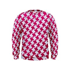 Houndstooth2 White Marble & Pink Leather Kids  Sweatshirt