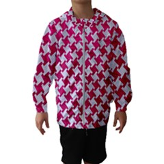 Houndstooth2 White Marble & Pink Leather Hooded Windbreaker (kids)