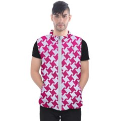 Houndstooth2 White Marble & Pink Leather Men s Puffer Vest