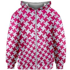 Houndstooth2 White Marble & Pink Leather Kids Zipper Hoodie Without Drawstring