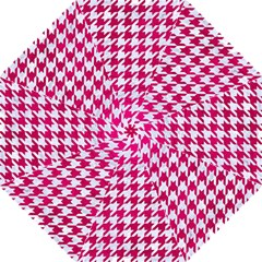 Houndstooth1 White Marble & Pink Leather Folding Umbrellas by trendistuff