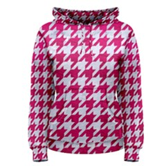 Houndstooth1 White Marble & Pink Leather Women s Pullover Hoodie