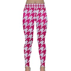 Houndstooth1 White Marble & Pink Leather Classic Yoga Leggings