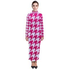 Houndstooth1 White Marble & Pink Leather Turtleneck Maxi Dress