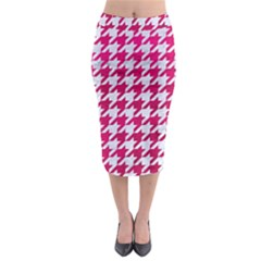 Houndstooth1 White Marble & Pink Leather Midi Pencil Skirt