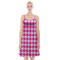 Houndstooth1 White Marble & Pink Leather Spaghetti Strap Velvet Dress