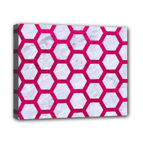Hexagon2 White Marble & Pink Leather (r) Canvas 10  X 8