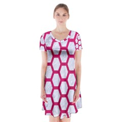 Hexagon2 White Marble & Pink Leather (r) Short Sleeve V Neck Flare Dress