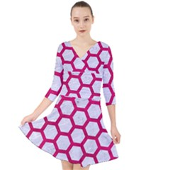 Hexagon2 White Marble & Pink Leather (r) Quarter Sleeve Front Wrap Dress
