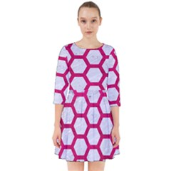 Hexagon2 White Marble & Pink Leather (r) Smock Dress