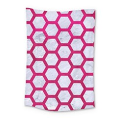 Hexagon2 White Marble & Pink Leather (r) Small Tapestry
