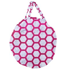 Hexagon2 White Marble & Pink Leather (r) Giant Round Zipper Tote by trendistuff