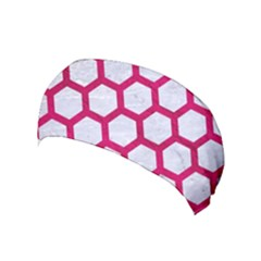 Hexagon2 White Marble & Pink Leather (r) Yoga Headband
