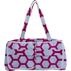 Hexagon2 White Marble & Pink Leather (r) Multi Function Bag